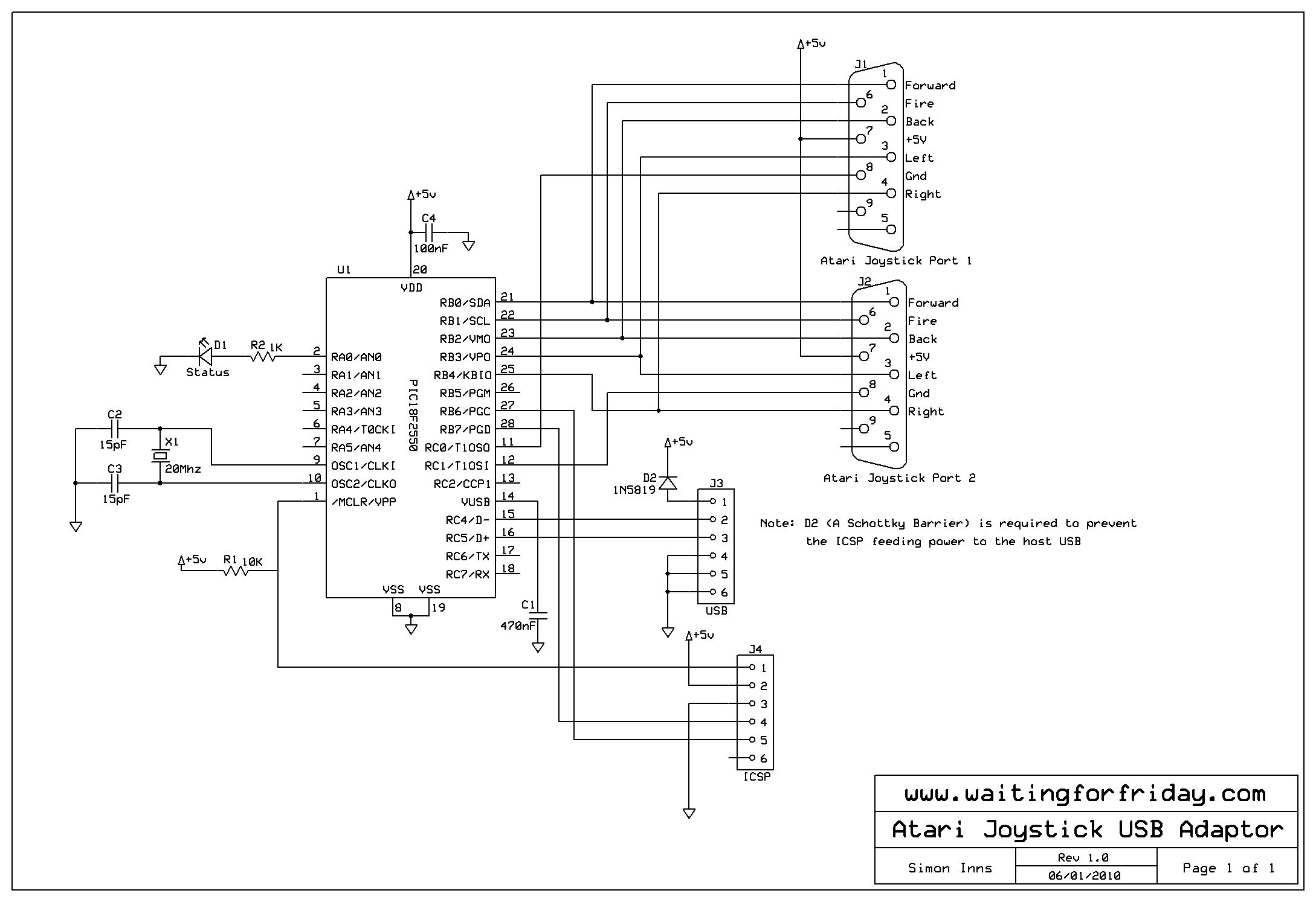 Atari Joystick Usb Adaptor Waiting For Friday Schematic Circuit And Pcb Artwork
